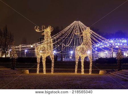 STOCKHOLM - DEC 12, 2017: Gigantic reindeers christmas decoration made of led light in Kungstrandgarden Stockholm. December 12, 2017 Sweden