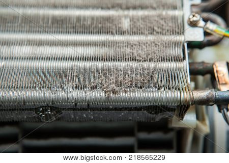 dirty dust on air conditioner Coil Fins