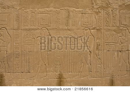 A wall in ancient Edfu temple in Egypt