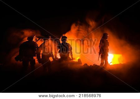 Anti-riot Police Give Signal To Be Ready. Government Power Concept. Police In Action. Smoke On A Dar