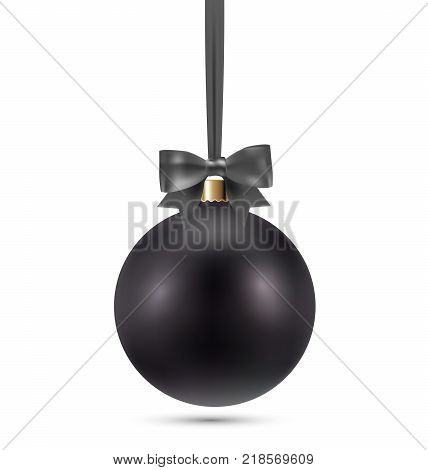 Premium Luxury Black Christmas ball decoration ornament isolated on white background. Realistic stock vector winter decoration illustration. EPS 10