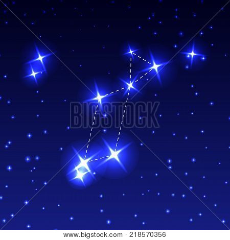The Constellation Lyra in the night starry sky. Vector illustration of the concept of astronomy