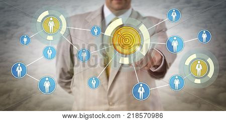 Unrecognizable business man above the clouds targeting professionals in a network. Concept for market segmentation recruitment pareto principle team building and customer relationship management.