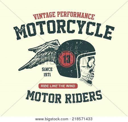 Skull biker in helmet. Hand drawn. Vector illustration.