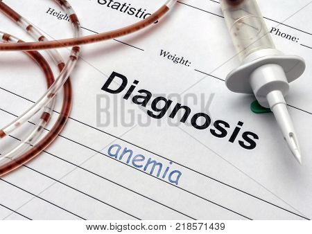 Diagnostic form, Anemia, drip irrigation equipment with traces of blood in a hospital, conceptual image poster