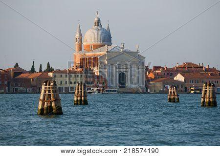 VENICE, ITALY - SEPTEMBER 27, 2017: Morning landscape with the Il Redentore church. Giudecca Island Venice