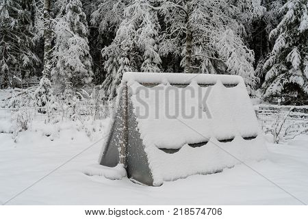 a greenhouse covered in white snow standing in a forest