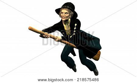 3D rendering in PNG format with transparent background of the Befana in flight on its own broom
