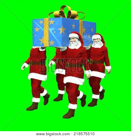 3D rendering on chroma key background of four Santa Claus carrying a super Christmas present on shoulder