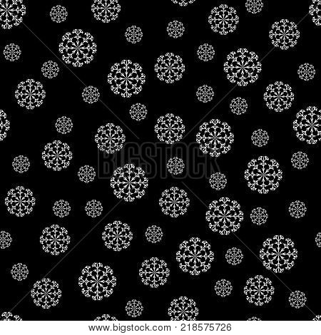 Snowflake chaotic seamless pattern. Fashion holiday graphic background design. Modern stylish abstract texture. Monochrome xmas template for prints textiles wrapping wallpaper. VECTOR illustration
