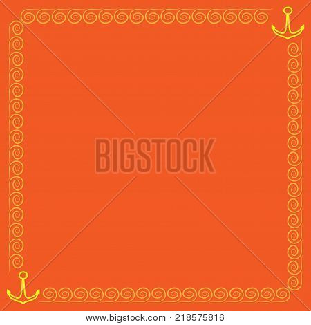Frame yellow. Border from waves and anchors. Decoration sea concept. Colorful framework isolated on orange background. Decoration banner rim. Modern art scoreboard. Stock vector illustration