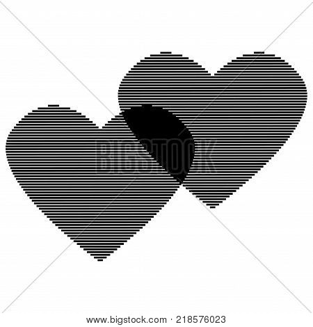 Two hearts of black lines sign. Logo for romantic holiday celebration. Beautiful icon isolated on white background. Lovely symbol. Image of romance. Mark of decoration love. Stock vector illustration