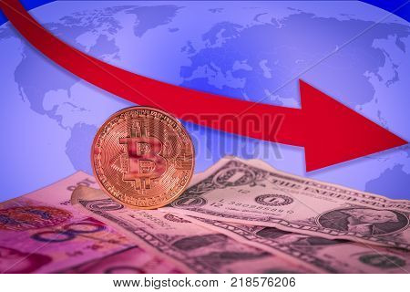 Financial bear market falling concept with golden bitcoin above dollar and yuan bills, a red down arrow and world map on the background. Bitcoin and other cryptocurrencies ecnomic bubble or speculation concept poster