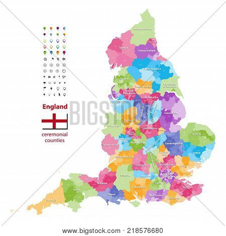 vector map of England ceremonial counties. Flag of England. Navigation and location icons poster