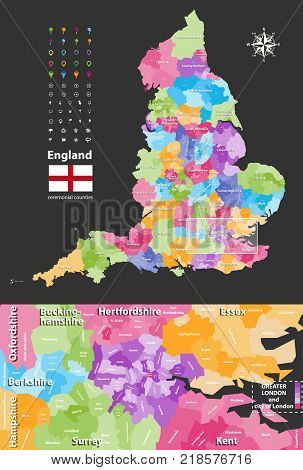 vector map of England ceremonial counties with close up of region include Greater London and nearest territories. Flag of England. Location, navigation and travel icons