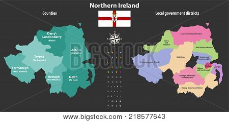 Northern Ireland counties and local government districts vector map