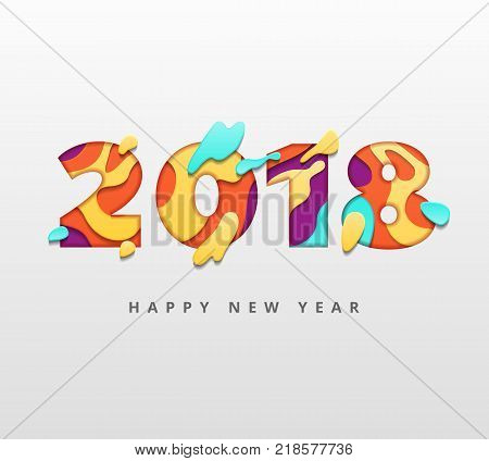 2018 Happy New Year template with abstract paper cut style. Creative happy new year paper art and craft style. Colorful 3D carving art flyers, posters, brochure or voucher discount. Vector stock
