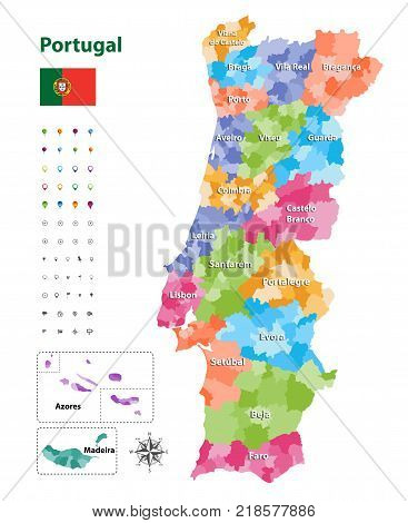 vector map of Portugal districts and autonomous regions, subdivided into municipalities. Each region have own color palette. Flag of Portugal. Navigation, location and travel icons