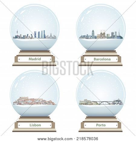 vector snow globes with Madrid, Barcelona, Lisbon and Porto abstract city skylines inside