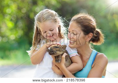 Kids And Farm Animals. Child With Baby Pig At Zoo.