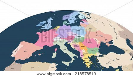 vector planet Earth globe with close up of Europe continent