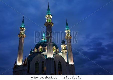 View of the mosque Kul Sharif in Kazan at sunrise Russia