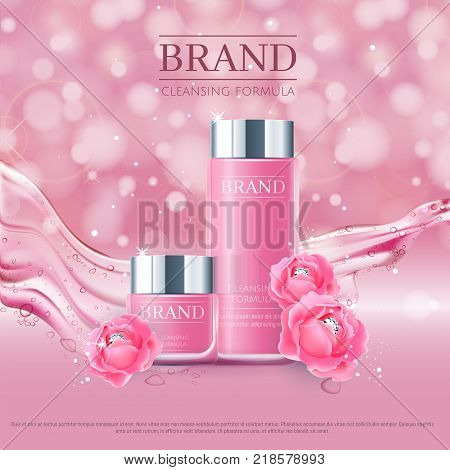 Pink background with realistic vector moisturizing cosmetic cleansing premium products. Premium VIP cosmetic ads, hydrating Rose Packaging Cream and Body Lotion with blue roses, diamonds and splash