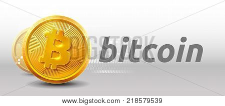 Bitcoins money Virtual currency concept background. Golden bitcoin coin blockchain technology for crypto currency. Digital money currency. Vector stock illustration. EPS 10