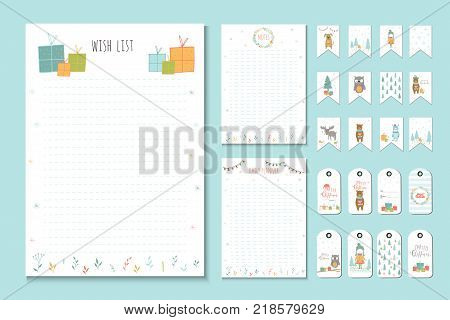 Christmas holiday to do lists planner cute notes with winter vector illustrations. Template for party organization greeting and journaling cards invitations gifts decoration stationery.