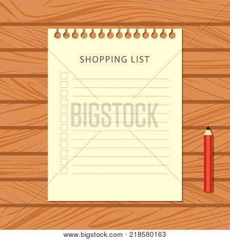 Flat shopping list and red pencil on wooden background. Stationery on wooden table, top view. Vector illustration