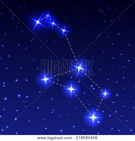 The Constellation Of Stern in the night starry sky. Vector illustration of the concept of astronomy