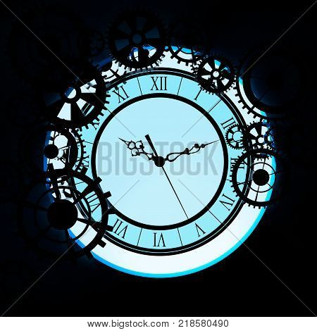 old glass clock with gears steampunk background. 3d illustration.