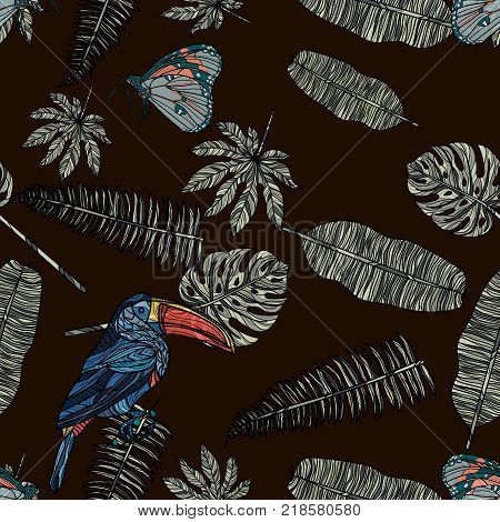 Seamless pattern with tropical leaves, butterfly and toucan seamless pattern. Vector illustration. Typography design elements for prints, cards, posters, products packaging, branding.