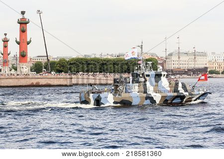 St. Petersburg, Russia - 28 July, Military boat on the parade, 28 July, 2017. Festive parade of warships on the Neva River in St. Petersburg.