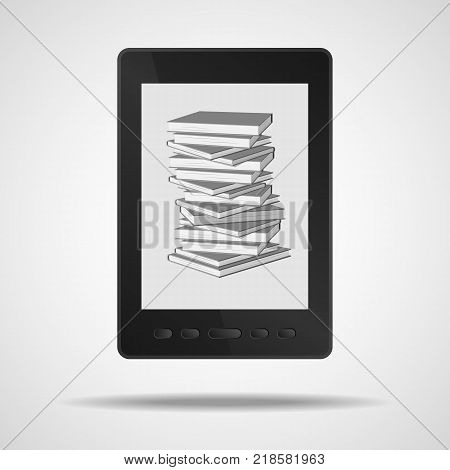 E-book and a stack of books in it. Vector illustration.
