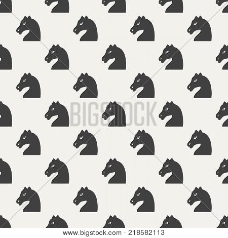Seamless pattern with chess pieces. Chess horse. Vector illustration
