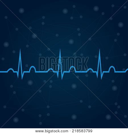 ECG on blue background with lines, dots, technology concept. Healthcare medical backdrop with heart cardiogram. For use in medical banners, posters, templates. Cardiology concept with pulse rate diagram.