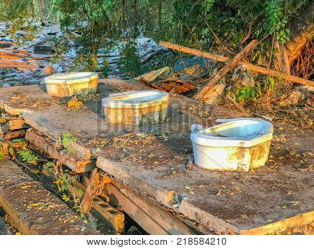 outdoor Old bathroom completely destroyed in Thailand