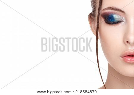Close up half face portrait of girl with perfect fresh clean skin young model with beautiful glamorous makeup wet effect on her face and body eyes closed copy space your text here front view