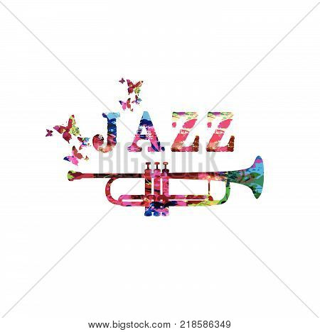 Music instrument background. Colorful word jazz with saxophone isolated vector illustration. Jazz music vector