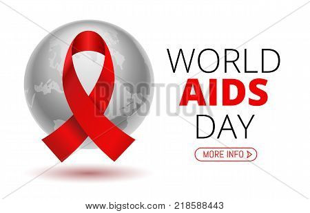 Vector Stock Illustration for World AIDS Day. 1st December World Aid Day Awareness poster with red ribbon and world map or planet Earth on white background.