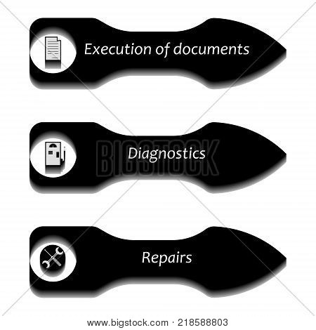Vector image of bulky pointers with icons for documentation, diagnostics and repair