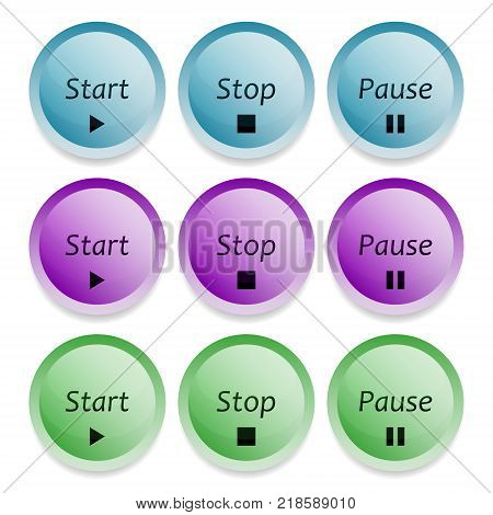 Vector image of three-dimensional start, stop and pause buttons in multi-colored colors