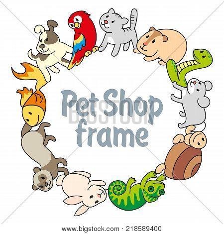 Round frame Pet shop types of pets cartoon illustrations animals. Logo pictogram infographic elements