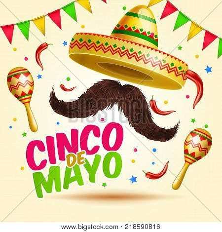 Cinco de Mayo vector realistick beautiful greeting celebration card with sombraro, mustaches, chili paper, flag garlands and confetti , maracas for ad, promotion, poster, flyer, social media, marketing