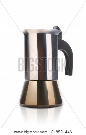 illustration of realistic coffee maker with soft shadow and reflection on white background