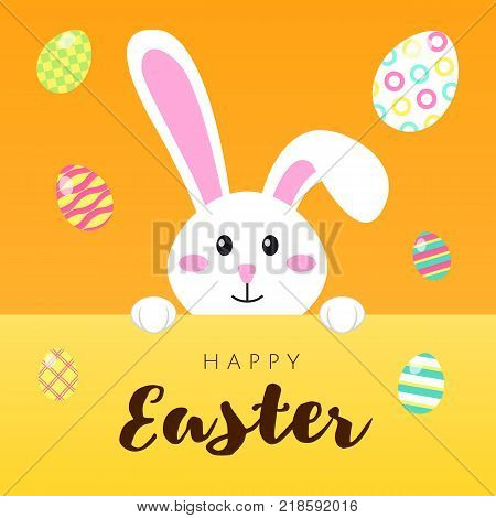 Greeting card with white Easter rabbit and colored eggs. Funny bunny in flat style. Easter Bunny. Egg hunt. Happy easter lettering card with cute rabbit children vector illustration.