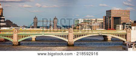 Southwark Bridge across River Thames, London, England