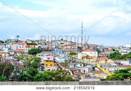 Favela in Sao Paulo suburb, Brazil. A lot of small poor houses