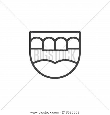 Dental jaw line icon, outline vector sign, linear style pictogram isolated on white. Prosthesis teeth symbol, logo illustration. Editable stroke